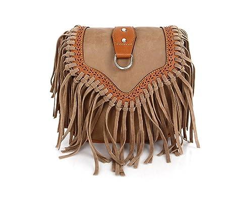 f56274d37544 Image Unavailable. Image not available for. Color  Womens Mini Hippie Suede Retro  Vintage Tribal Fringe Tassel PU Leather Shoulder Bag ...