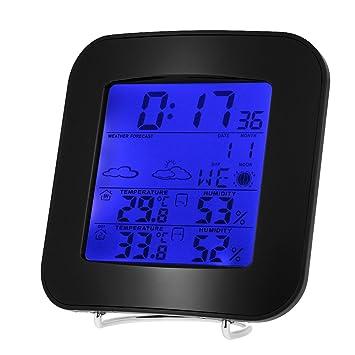 Anself - Multiusos LCD Reloj Digital de Estación Meteorológica Inalámbrica para Interior / Exterior, Con Funciones de Termómetro de Temperatura Alarma ...
