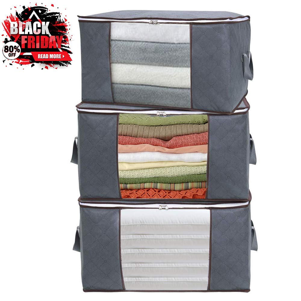 Storage Bags 3 Pack Large Capacity Clothes Storage Bag Comforters/Blankets/Bedding/Sweater Containers Organizer/Foldable Reinforced Handle/Clear Window /Closets Bedrooms Storage Bins
