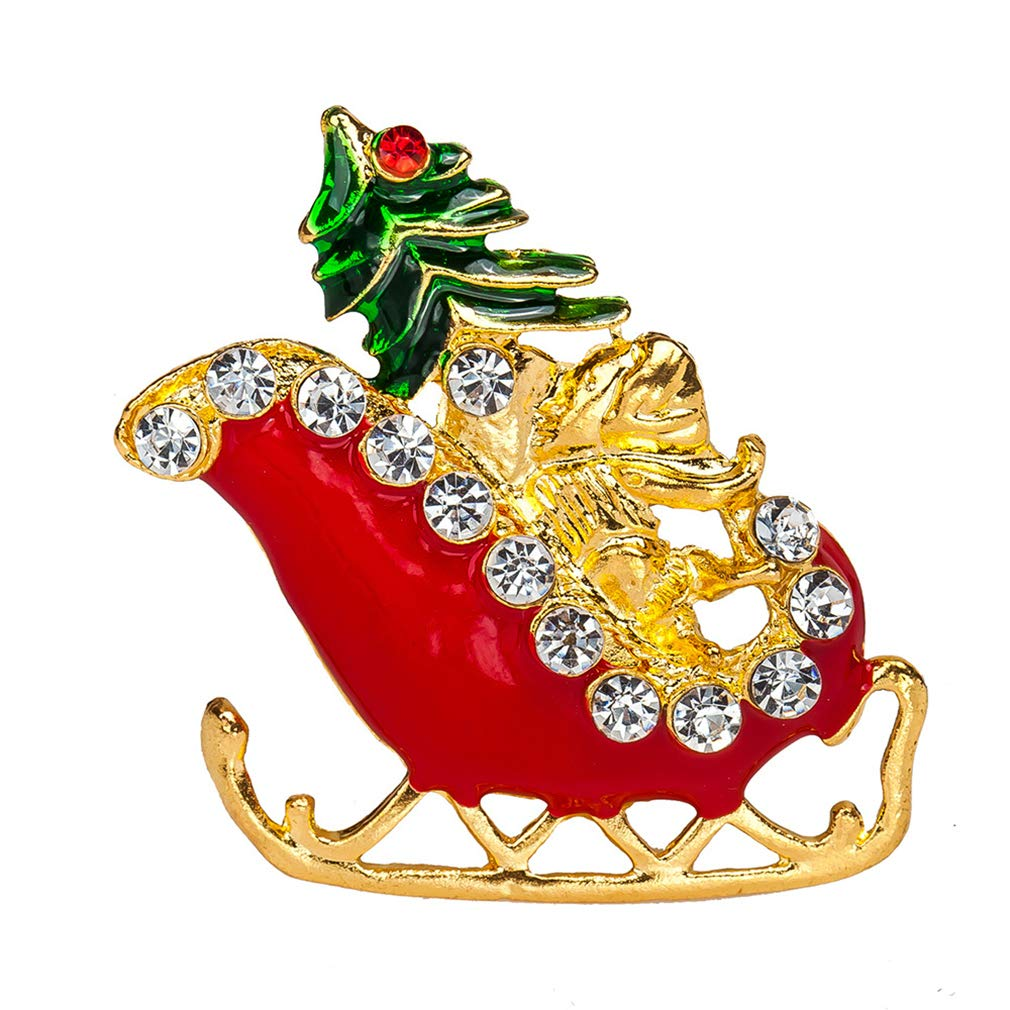 MOONQING Colorful Rhinestone Sleigh Brooch Creative Christmas Brooch Pins Crystal Brooch Art Crafts Jewellery