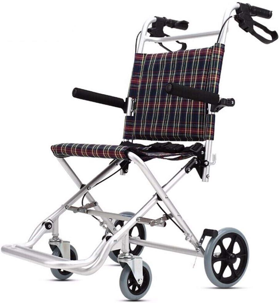 GSS-Rollstühle Aluminio Silla de Ruedas-Super Silla de Ruedas Ligera Plegable, 14.2 Pulgadas Anchura del Asiento, Dispositivo móvil Ligera en niños, Adecuado for usuarios con discapacidad