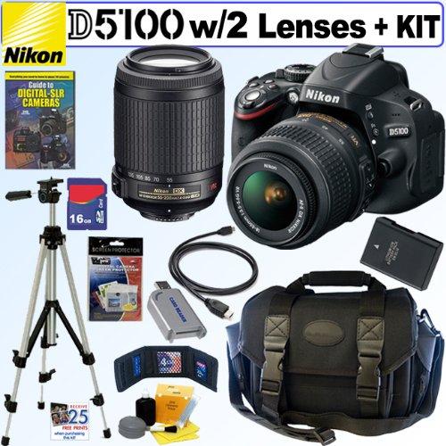 "Nikon D5100 16.2MP CMOS Digital SLR Camera with 18-55mm f/3.5-5.6G AF-S DX ""VR"" and 55-200mm f/4-5.6G ED IF AF-S DX ""VR"" Zoom-Nikkor Lenses + EN-EL14 Battery + 16GB Deluxe Accessory Kit, Best Gadgets"