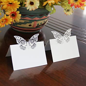Amazon 50pcs wedding party decoration butterfly table place 50pcs wedding party decoration butterfly table place cards wedding table number name place card junglespirit Image collections