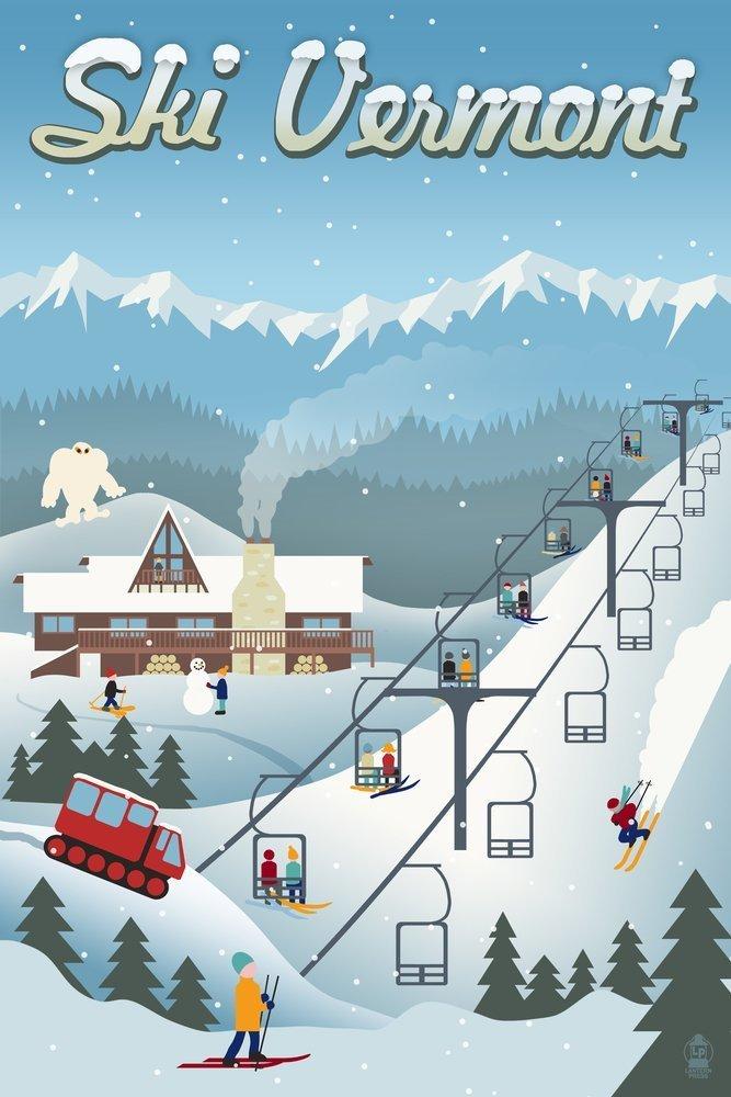 ビッグ割引 Vermont – レトロSki Resort 4 18 Coaster Set 12 Coaster LANT-47352-CT B00N5COGMS 12 x 18 Art Print 12 x 18 Art Print, 戸田家具:8e2a49fb --- arianechie.dominiotemporario.com