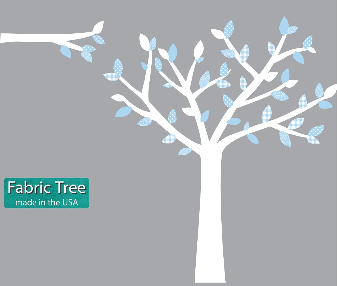 Fabric Tree Decals, Tree Stickers in White and Blue, Baby Blue