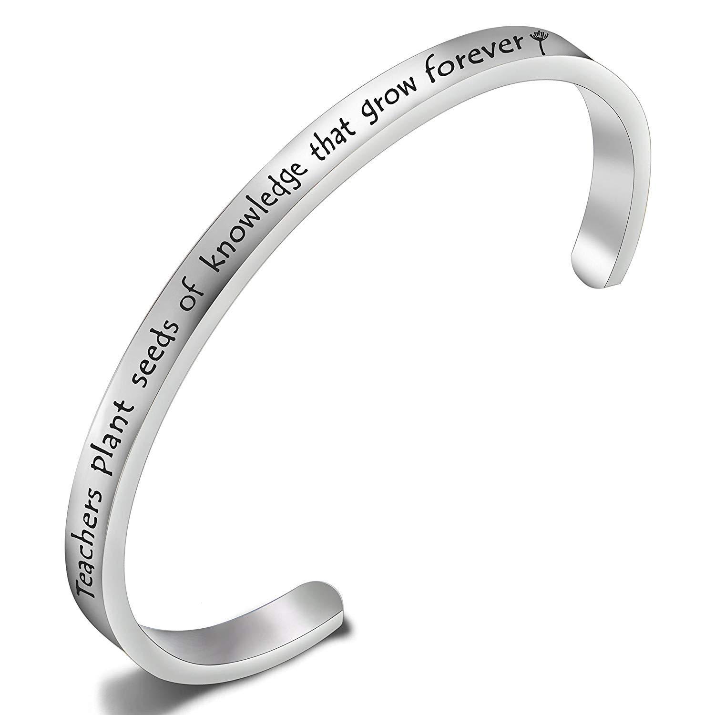 ENSIANTH Teacher Appreciation Gift Teacher Plant Seeds of Knowledge That Grow Forever Bracelet Thank You Gift for Teacher