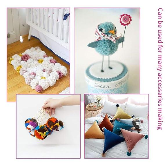Reusable Pom Pom Maker Pomp/ón Hacedor 4 Tama/ños Para Lana Aguja Tejedor Tejido DIY Doll haciendo Kits-Hilado de lana Knitting Craft Tool Set Fabricante para Ni/ño y adultos F/ácil de Usar