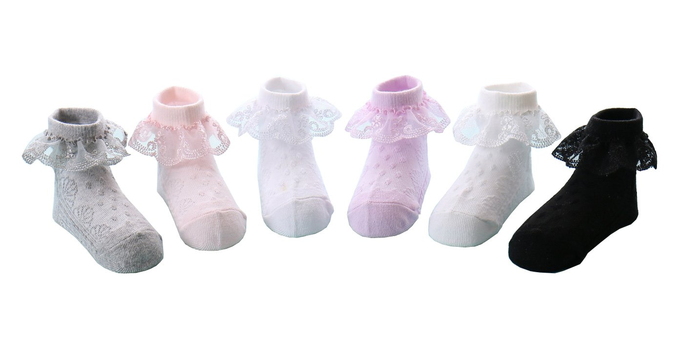 CHUNG Toddler Baby Girls Princess Cotton Socks with Lace Ruffles for Dress School, Black Lace, 3-5Y