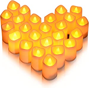 Litake Christmas LED Candles,Flickering Romantic Window Candles,Flameless Warm White Tea Lights,Battery Operated Relastic Fake Candles for Christmas Wedding Birthday Party,24 Packs