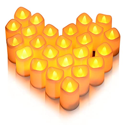 Litake - Velas LED, 24 velas realistas, sin llama, luz blanca cálida, funciona con pilas, luz falsa eléctrica para bodas, cumpleaños, festivales, ...
