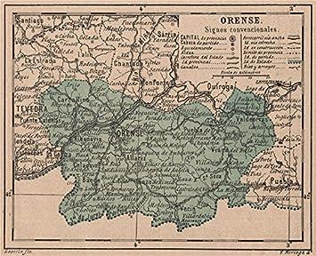 Orense Ourense Galicia Mapa Antiguo De La Provincia 1908