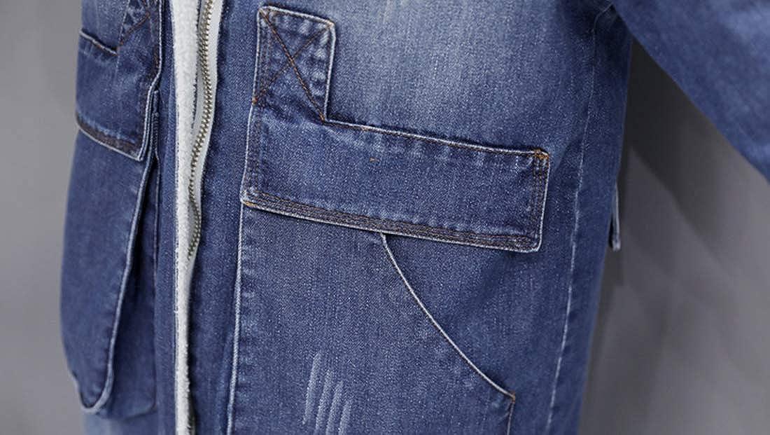 Tanming Womens Loose Zip Up Fox Fur Collar Fleece Lined Long Denim Jean Jacket Coat
