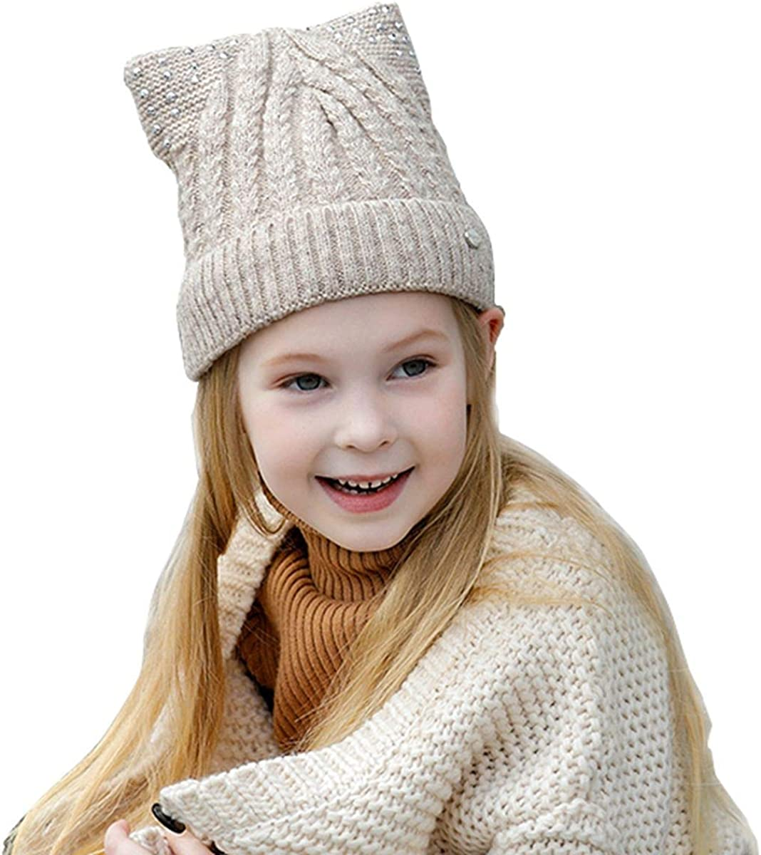 MOOKZZ Winter Knit Cable Beanie Baby Girls Acrylic Cute Hat Warm Cotton Lined Skull Cap