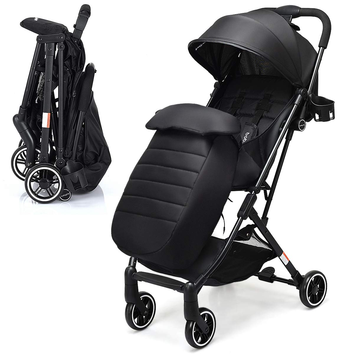 BABY JOY Stroller, Pram Baby Carriage, Lightweight Stroller with 5-Point Harness, Multi-Position Reclining Seat, Warm Foot Cover, Extended Canopy, Easy Folding for Travel, Airplane Compartment (Black)