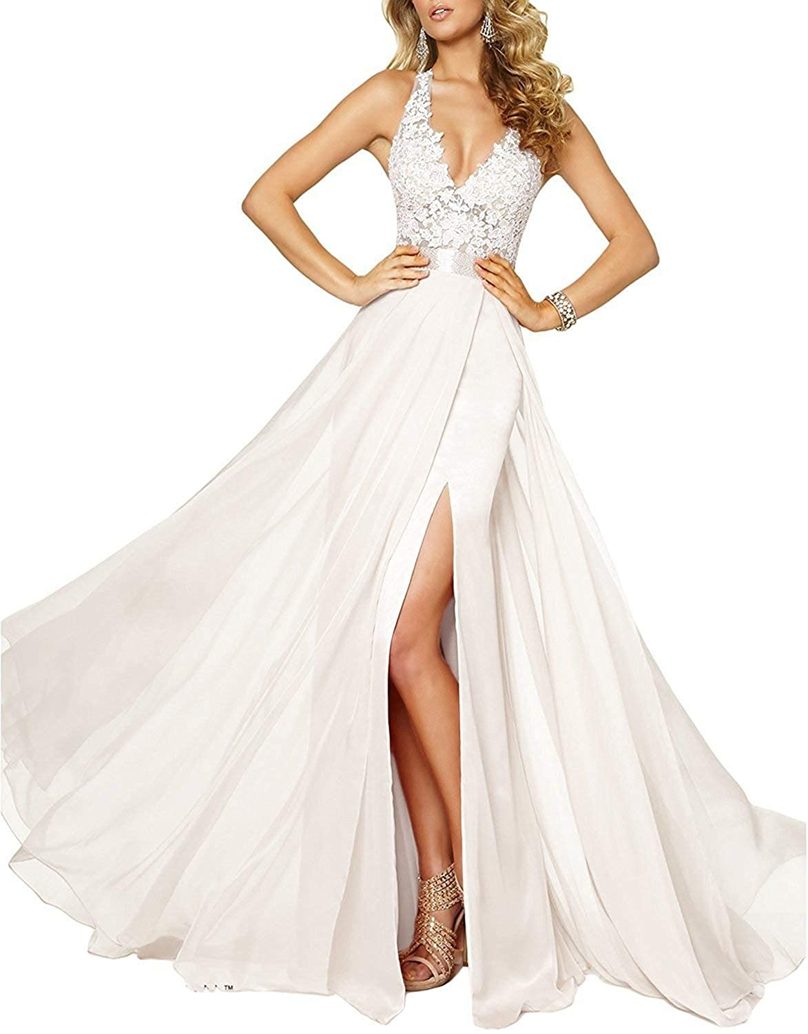 007712dd80e UGLY Women s Side Slit V-Neck Prom Dresses Sexy Straps Chiffon Evening  Gowns UG015 at Amazon Women s Clothing store