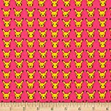 Poke'mon Grid Pink Fabric By The Yard