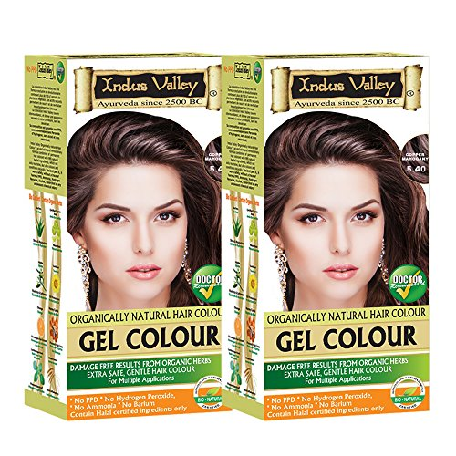 Indus Valley Organically Natural Permanent Natural Gel Hair Color Copper Mahogany 5.4- Twin (Removing Permanent Hair Color)