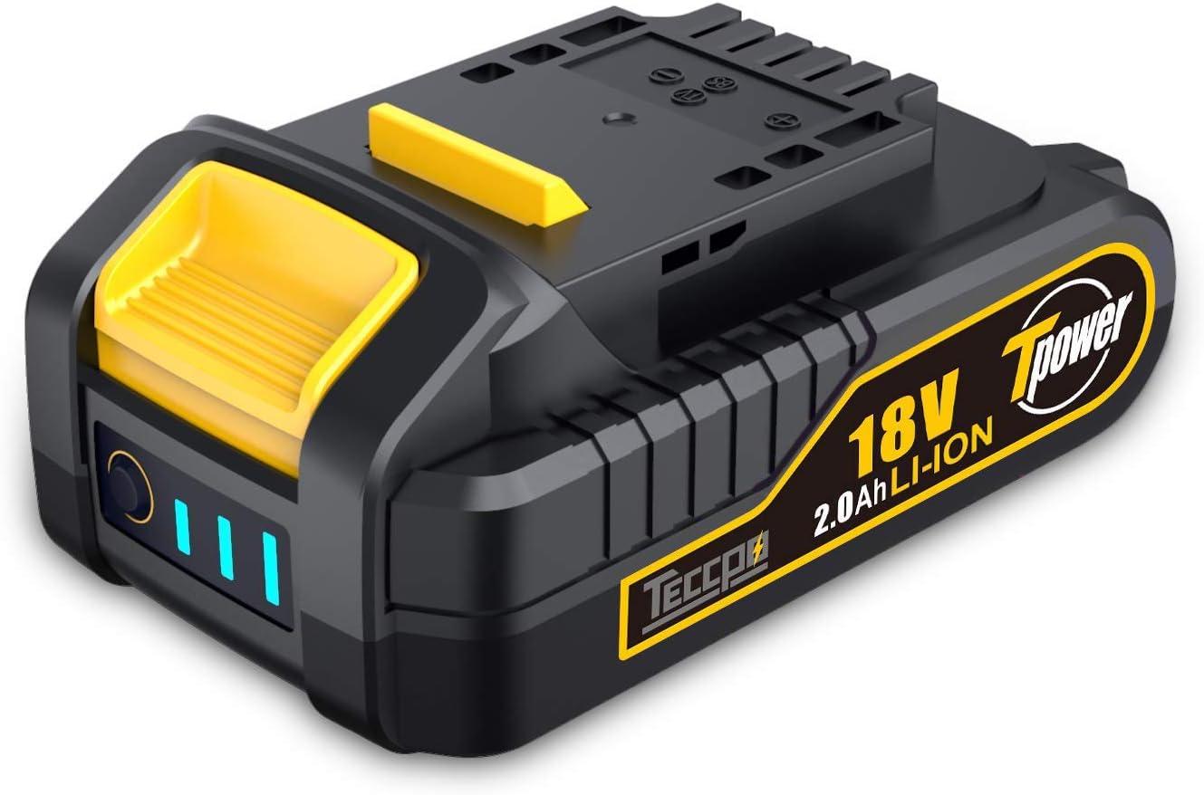 TECCPO Professional Batería 18V Recargable de Ion de Litio, Batería de Repuesto de 2.0 Ah, Para Todas las Herramientas Eléctricas sin Cable 18 V de TECCPO - TDBP02P
