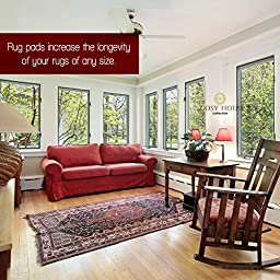 Non-Slip Area Rug Pads by Cosy House - Fully Washable, Best Pad for Firm Hold on Oriental Traditional or Contemporary Rugs & Mats on Hard Surface Floors Like Wood, Tile or Cement (2 x 7)