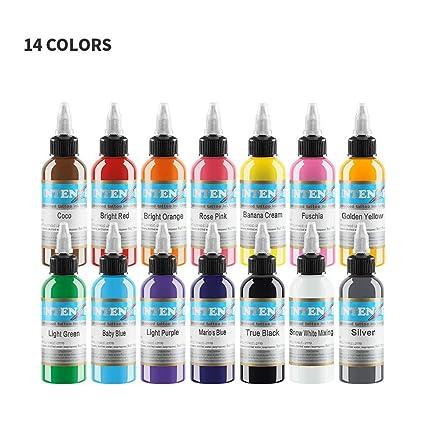 LregonXawk Tattoo 14 Unidades Pigmento De Tinta Colores Básicos ...