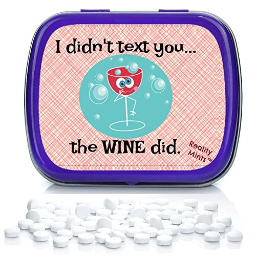 I Didn't Text You The Wine Did Mints – Weird Gift for Friends Easter Basket for Adults Stocking Stuffers Best Friend Gag Gifts Wine Text Chocolate Breath Mints Cell Phone Wine Gifts Drunk Texting Vino -