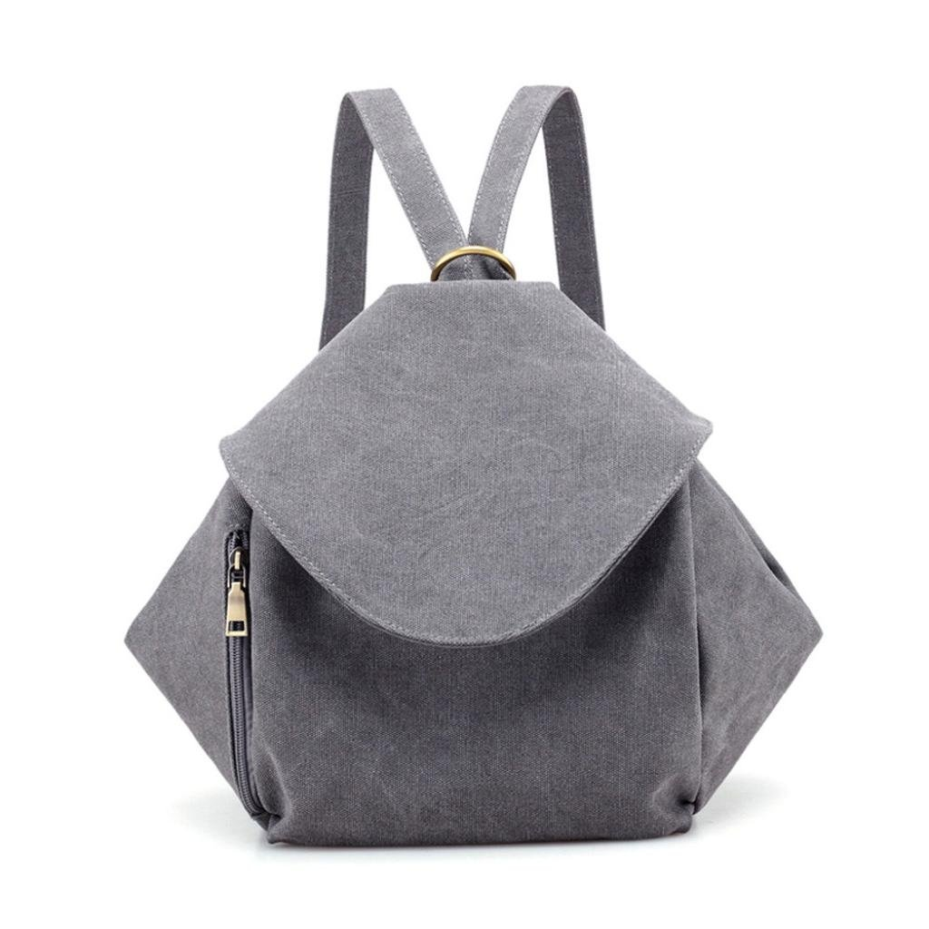 Neartime Double Shoulder Bags, ❤️ Clearance Fashion Girls College Zipper Slanted Backpack Travel Bag Canvas Leisure Bag (23cm(L)×12cm(W)×32cm(H), Gray)