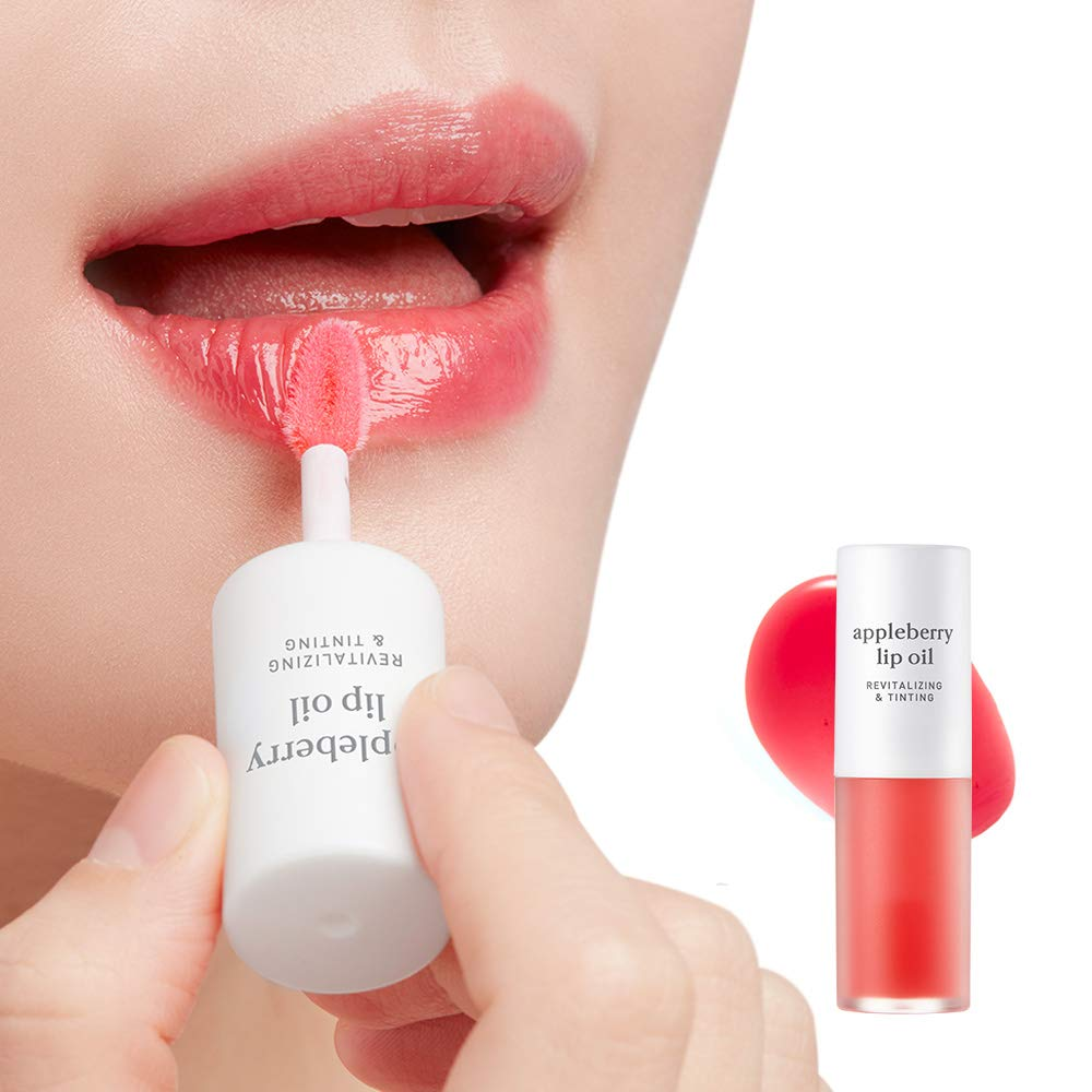 NOONI Appleberry Lip Oil Glossy 0.12 Ounces, Lip Mask Apple Oil, Hydrating Lip Oil, Healing Lip Treatment, Essential Lip Care, Natural Moisturizing Gloss, Soothing Lip, For Dry Lips, Berry Red Oil by NOONI