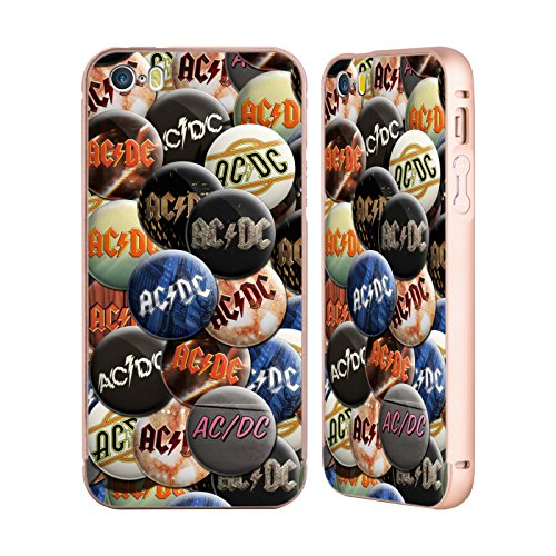 Officiel AC/DC ACDC Multicolore Épingles De Bouton Or Étui Coque Aluminium Bumper Slider pour Apple iPhone 5 / 5s / SE