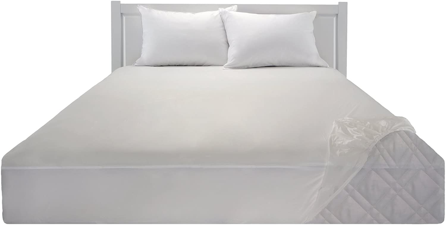 Mainstays Waterproof Fitted Vinyl Queen Mattress Protector, White