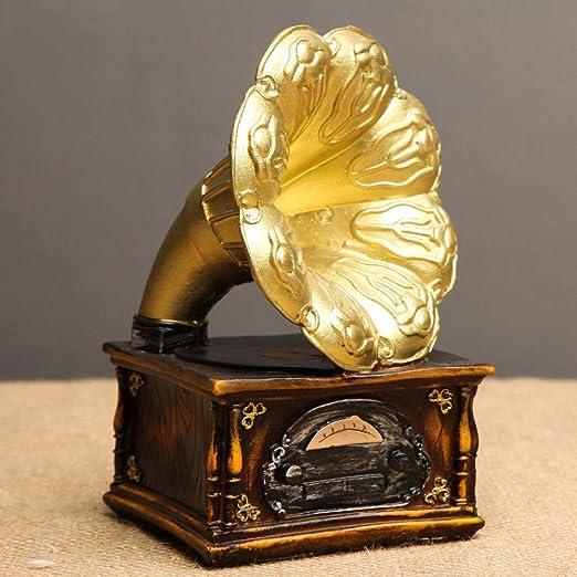 LQCN Vintage Resina Europea Retro gramófono Trompeta Modelo ...