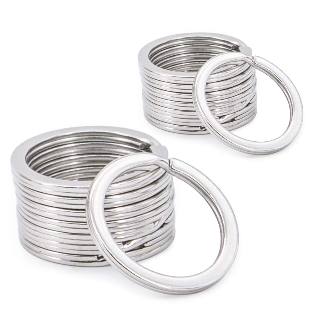 Round Flat Key Chain Rings, Metal Split Ring for Home Car Keys Organization 20pcs,Silver