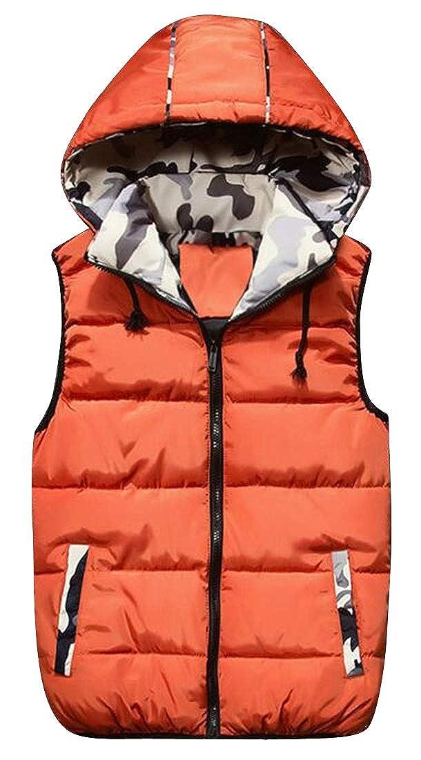 Jotebriyo Men Zip Up Casual Fall /& Winter Camo Print Warm Down Quilted Vest Puffer Waistcoat Jacket Outerwear