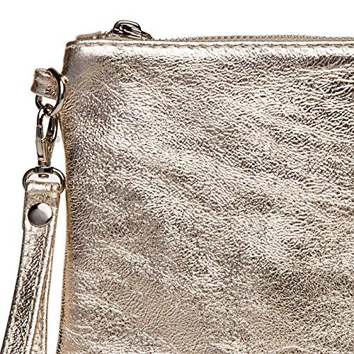 CASPAR TL717 Bolso de Mano Fiesta para Mujer / Clutch Metalizado de Cuero Genuino Champaño
