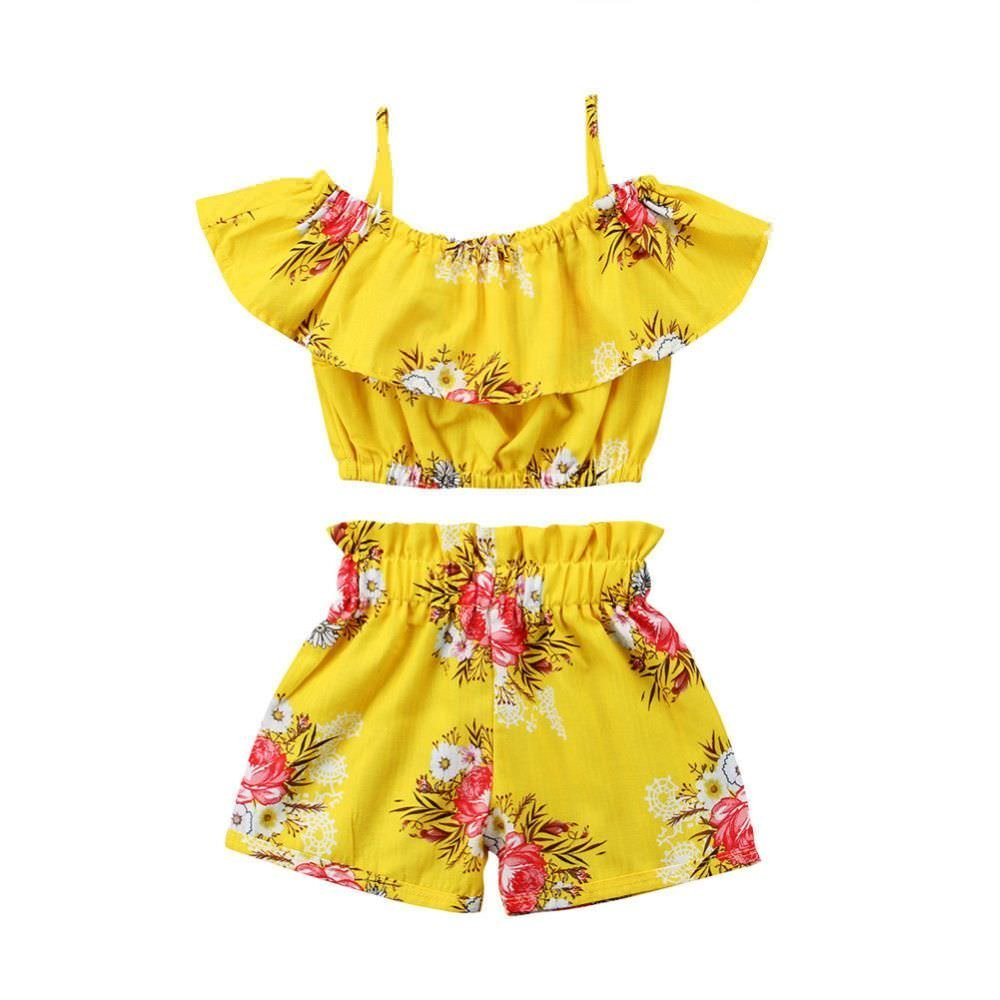 LLZ.COQUE Girls Clothing Set, Two Piece Set Floral Printed Ruffle 2Pcs Baby Kids Summer Casual Outfits Set T-Shirt Tops Shorts/Pants Outfits for 1-6 Years Old Clothes Suit, Yellow