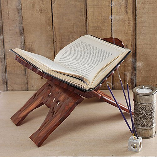 Holy Books Handcrafted Carving Design Book Holder for Home//Office//Temple//Church Or Multi Purpose Use Bible WhopperIndia Wooden Book Stand For Reading Geeta