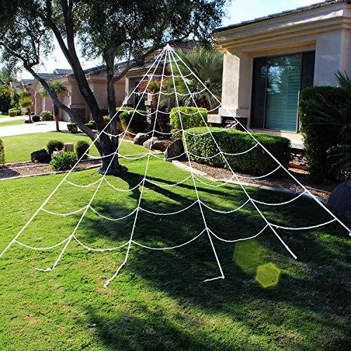 JOYIN Halloween Decorations 23X18 ft Triangular Mega Spider Web for Outdoor Halloween Decor Yard White