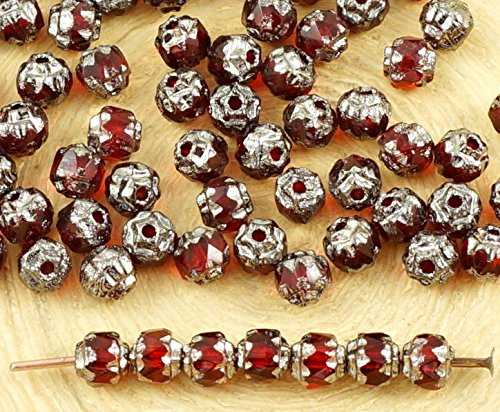 50pcs Crystal Dark Ruby Red Metallic Silver Czech Glass Cathedral Faceted Fire Polished Beads Christmas 4mm