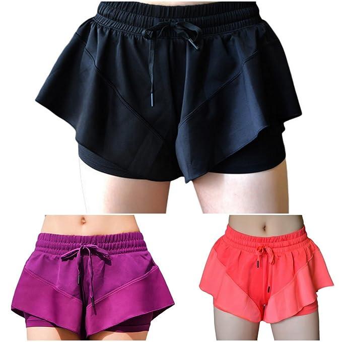 Smile YKK Kurze Hosen Damen Sommer Sport Fitness Yoga Bekleidung  Trainingshose Sport Pants Laufhosen: Amazon.de: Bekleidung