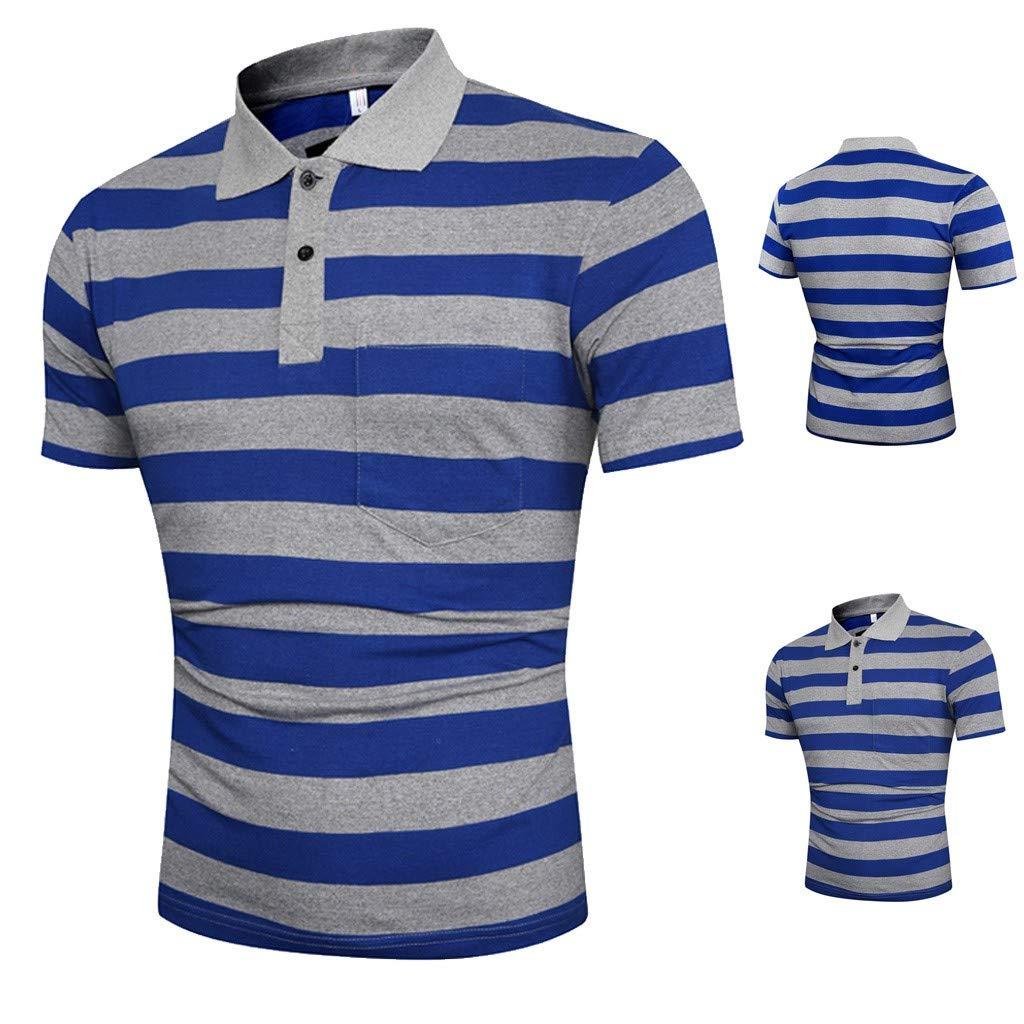 KLGDA Mens Classic Casual Short Sleeve Striped with Pocket Polo Shirt