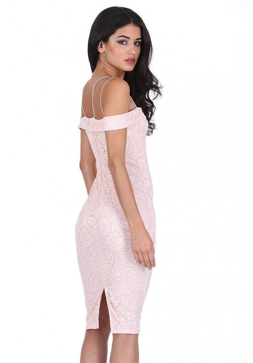 AX Paris Womens Off The Shoulder Strappy Lace Midi Dress