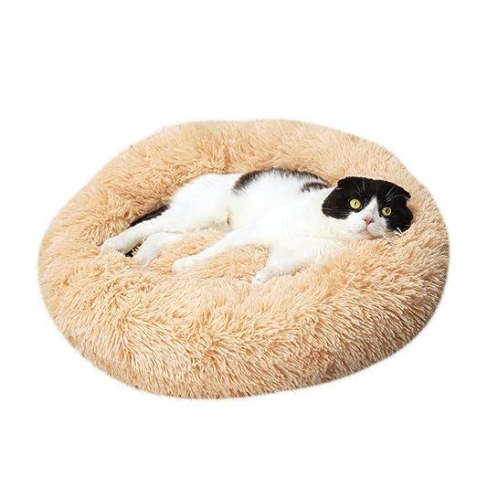 huangThroStore Cama calmante para Perros y Gatos, Cama de Felpa para Cachorros y Perros, Amarillo, 50cm