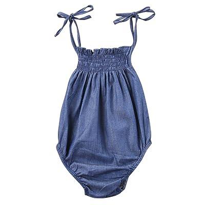 4e2f3c69b139 ABEE Newborn Infant Baby Girls Denim Jumpsuit Bodysuit Romper Clothes  Sunsuit Outfits