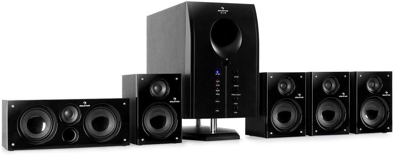 auna Areal Active 525, 5.1 Surround Sound System, Home Cinema System, Bass Reflex, 5 Satellite Speakers, Bluetooth, USB Port, SD, AUX, Pianoblack