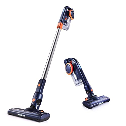 Orfeld Cordless Vacuum Cleaner, Stick Vacuum Cleaner 2 in 1 with 16 kPa Powerful Suction, Up to 50 Minutes Autonomy for Home and Car Cleaning – Blue