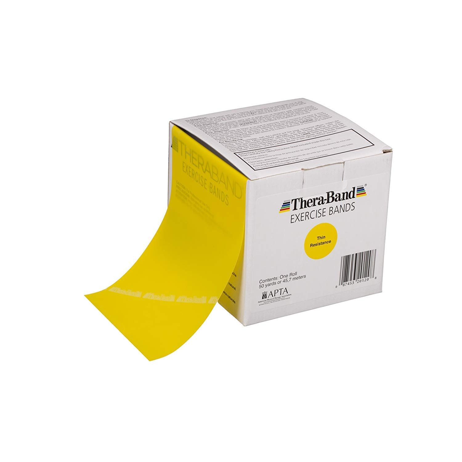 TheraBand Resistance Bands, 50 Yard Roll Professional Latex Elastic Band For Upper & Lower Body & Core Exercise, Physical Therapy, Pilates, At-Home Workouts, Rehab, Yellow, Thin, Beginner Level 2