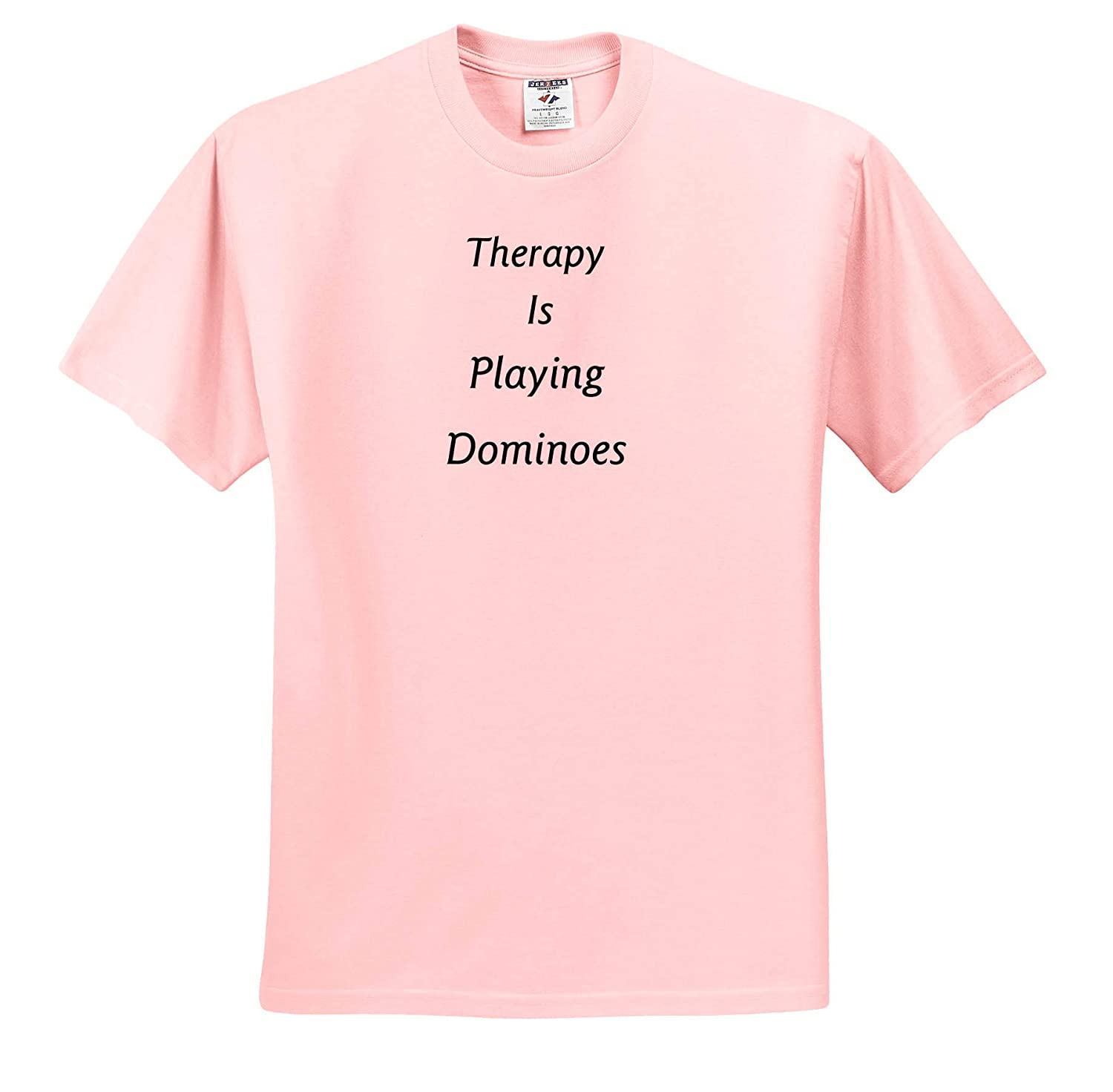 Therapy is Image of Therapy is Playing Dominoes in Bold Words Adult T-Shirt XL 3dRose Lens Art by Florene ts/_311376