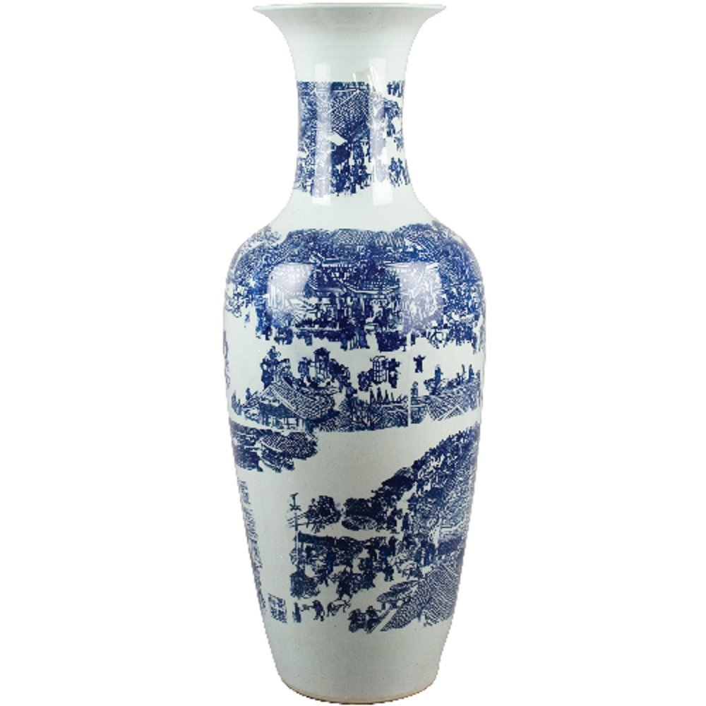 Home decor. Blue and White Oriental Vase. Dimension: 38 x 14. Pattern: Blue & White Classic.