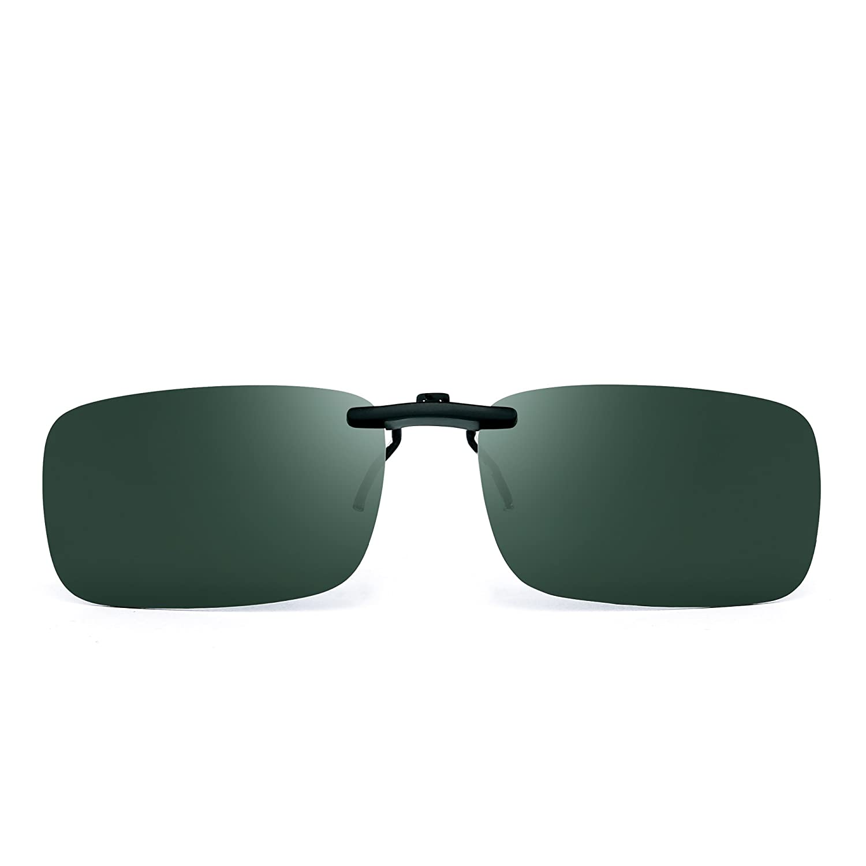 29c4e740b70 Rimless Rectangle Clip on Sunglasses Lightweight Polarized ...
