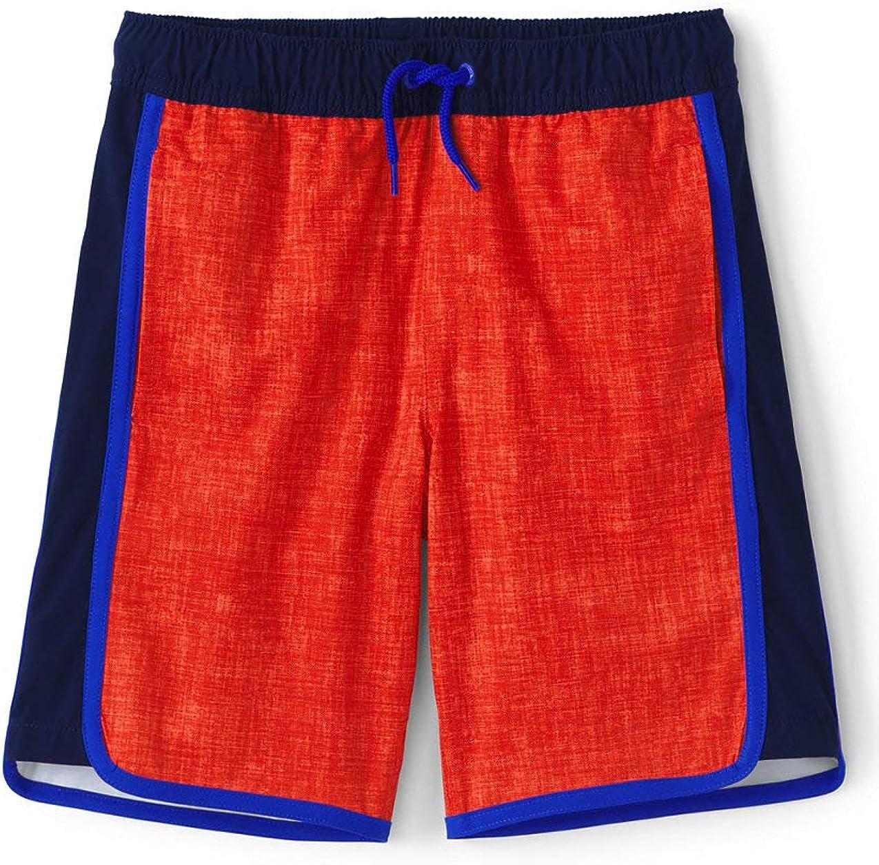 Lands End Boys Pattern Active Stretch Swim Trunks