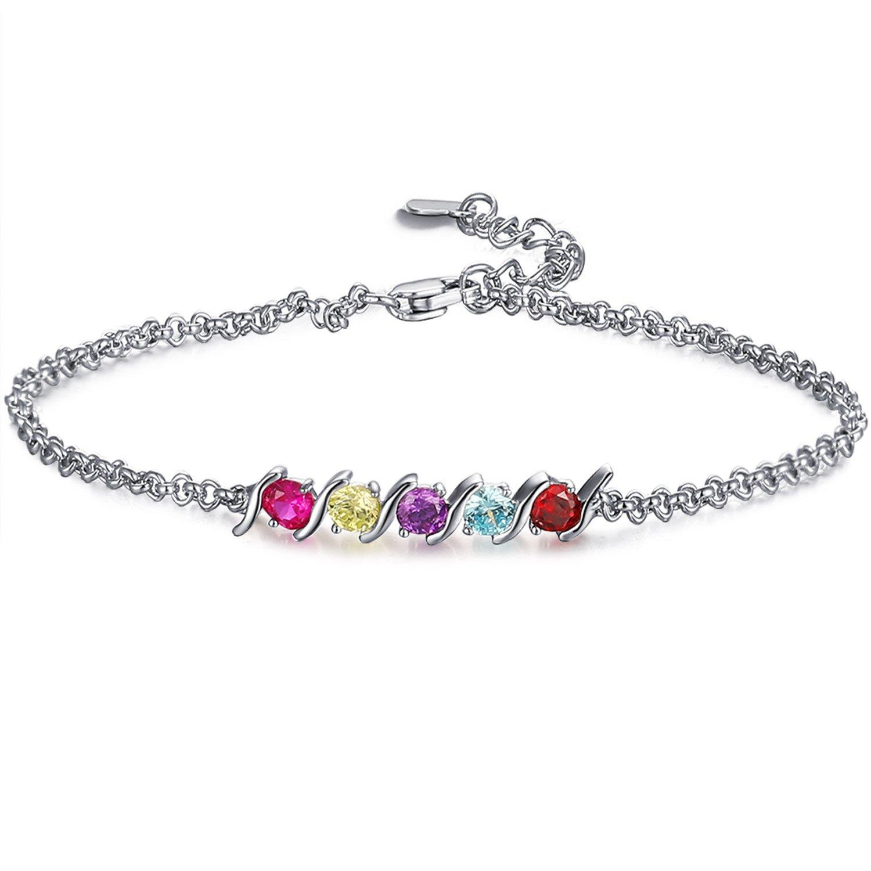 Caperci 925 Sterling Silver Round Shaped Multi-Gemstones Adjustable Link Tennis Bracelet for Women